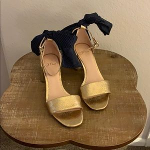 J Crew Gold Ankle Strap Sandals with Bow Detail